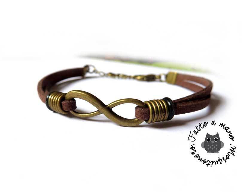 Bracciale infinito da uomo in bronzo five rings in pelle marrone