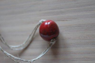 collana perle in ceramica raku rossa