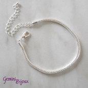 Base bracciale snake per perle a foro largo, silver, 160x3mm