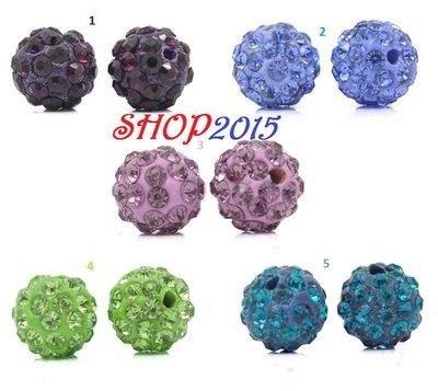 Perle pavè a sfera in argilla con Strass 10mm Dia vari colori