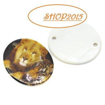 connettore , ciondolo in  madreperla con due tigri 3cm x 2.5cm