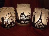 Barattoli di vetro porta candele in stile Shabby Chic