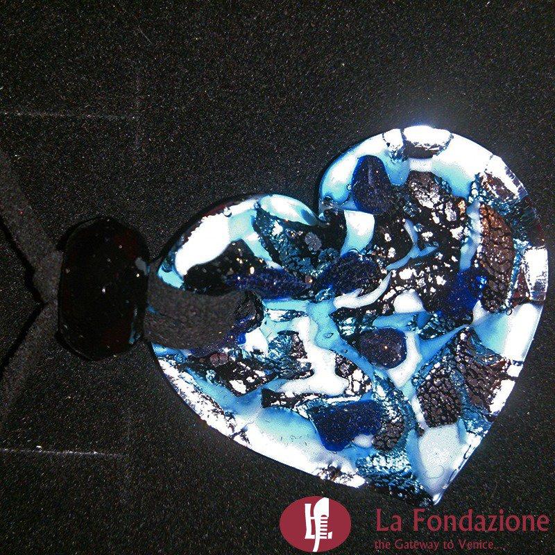 Cuoretto foro Blu - Pendente in vetro di Murano
