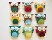 Set di 10 gufi in feltro e cotone: decorazioni, portachiavi, gadget di fine compleanno, calamite!