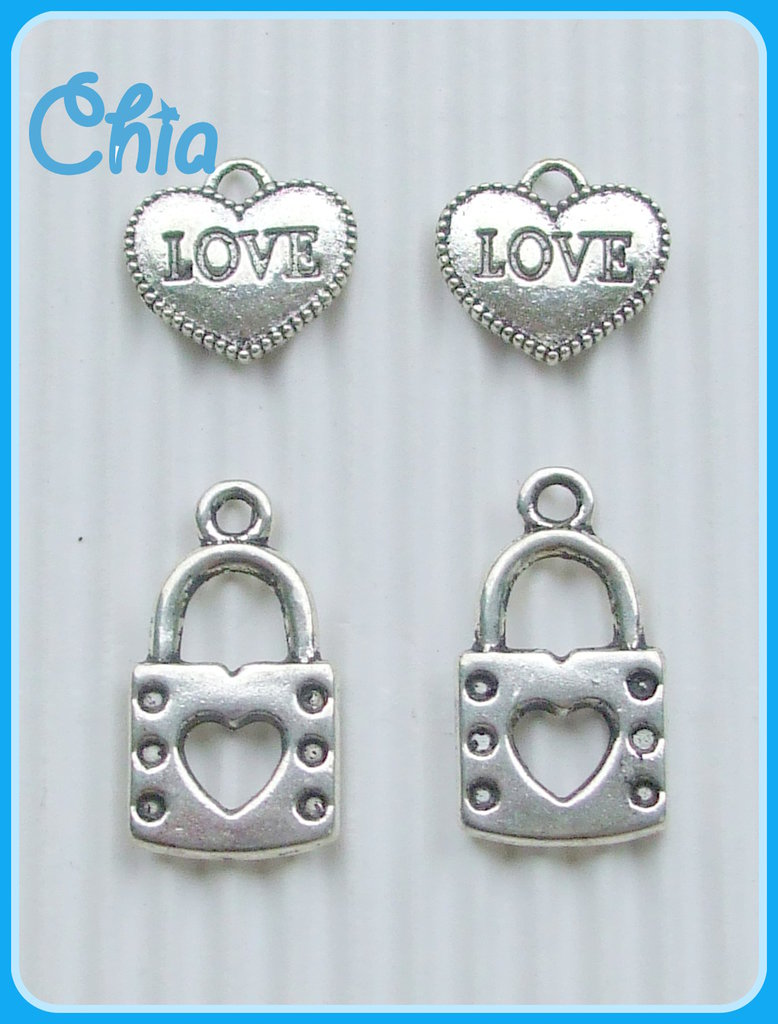 4 charms cuore+lucchetto