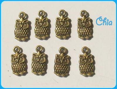 8 charms gufini bronzo