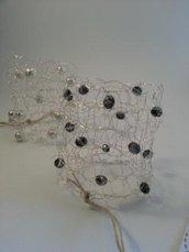 Bracciale tricot argento/perle grigie
