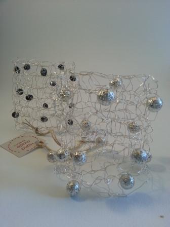 Bracciale tricot argento/perle argento