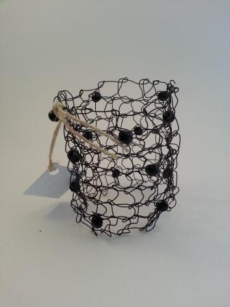 Bracciale tricot metallo nero/perle nere