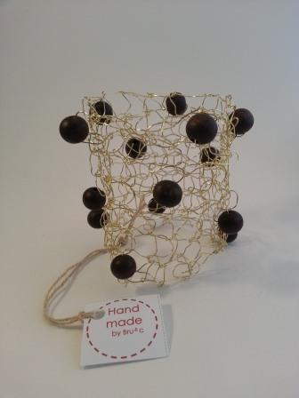 Bracciale tricot oro/perle legno