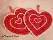 Presina cuore rosso uncinetto