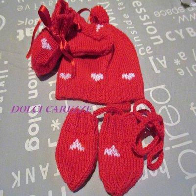 TRIS NEONATO/A ROSSO BUON AUGURIO - Cappelllino, scarpette e muffole