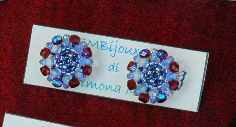 Orecchini Bottoncini Crystal Red&Blue