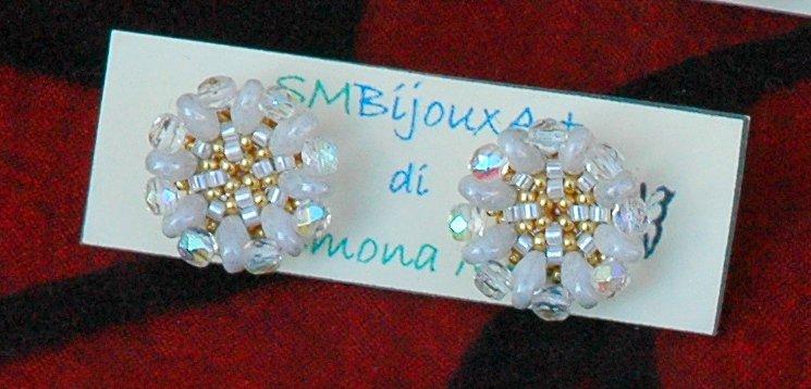 Orecchini Bottoncini Crystal&White