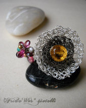 Ou Noir et Bouquet de Fleurs Eccentric Cocktail Ring - NUOVA COLLEZIONE - Spedizioni gratuite con Raccomandata *