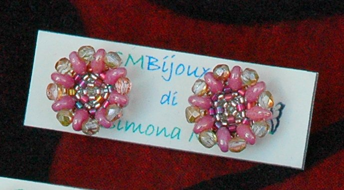 Orecchini Bottoncini Crystal Rame&Pink