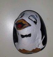 Sasso fermacarte dipinto a mano Pinguino