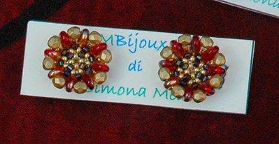 Orecchini Bottoncini Crystal Gold&Red