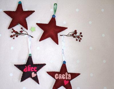 """Stelline in feltro con il nome personalizzabile """"Little shining stars"""""""