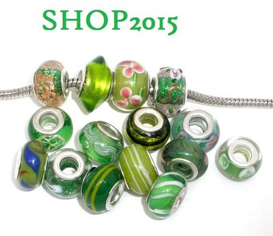 5 mix  perle foro largo lampwork  in vetro 14×10 mm foro 5 mm