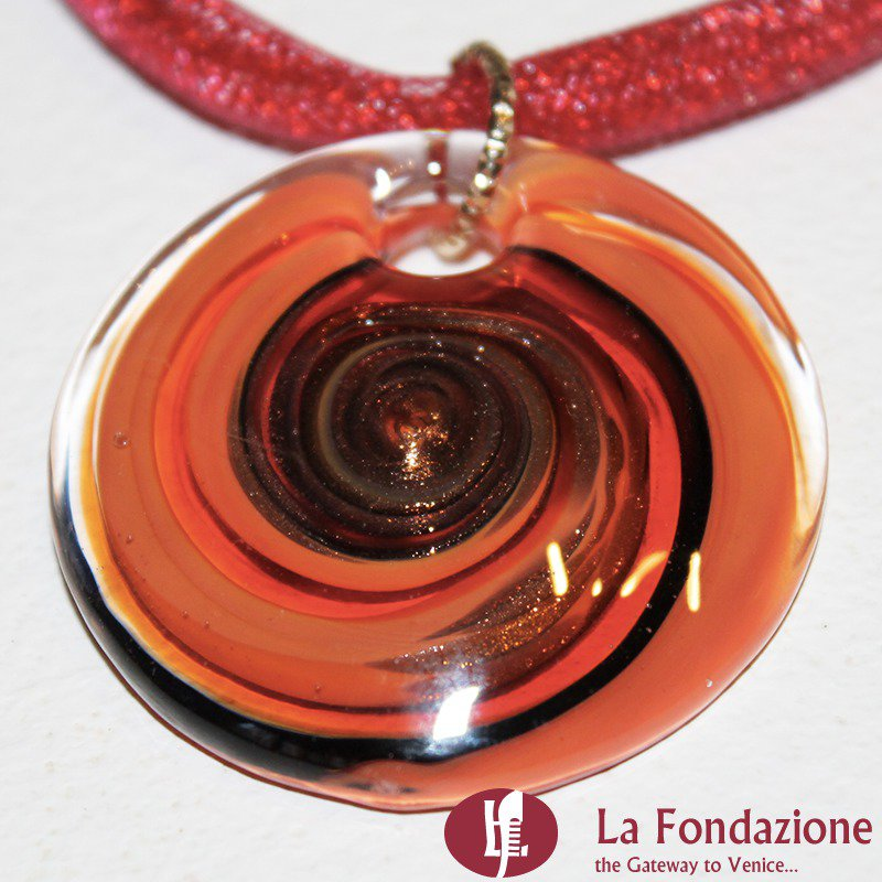 Disco Vertigo Rete Rosso - Pendente in vetro di Murano