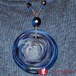 Disco Vertigo Rete Blu - Pendente in vetro di Murano