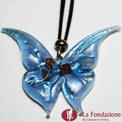 Farfalla Azzurro - Pendente in vetro di Murano