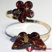 Twist con Farfalla e Fiore - Bracciale in vetro di Murano