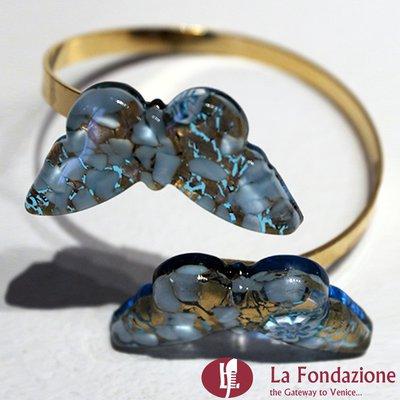 Twist con Farfalle - Bracciale in vetro di Murano