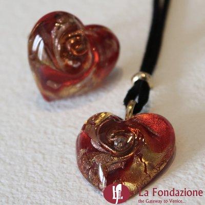 Cuore Gemma Rosso - Parure in vetro di Murano