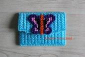 Porta monete azzurro con farfalla