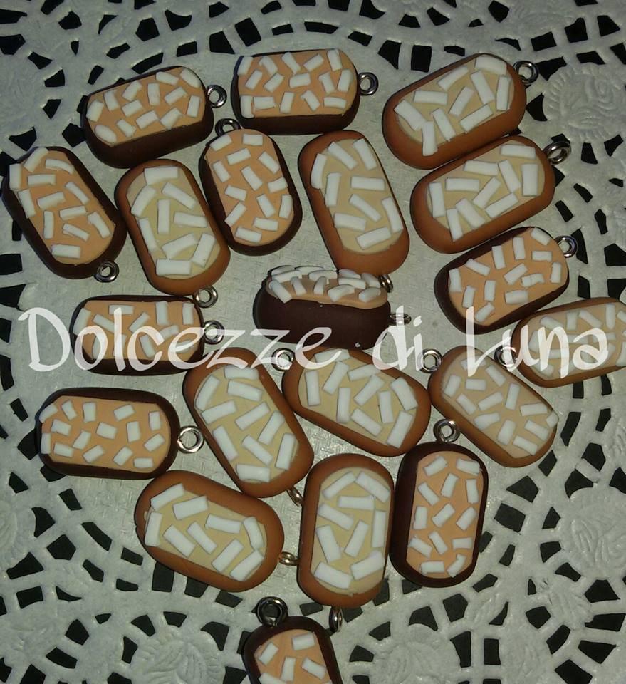 1 pezzo ciondolo charm merendina buondi' in fimo fatta a mano senza stampi per orecchini o bracciali