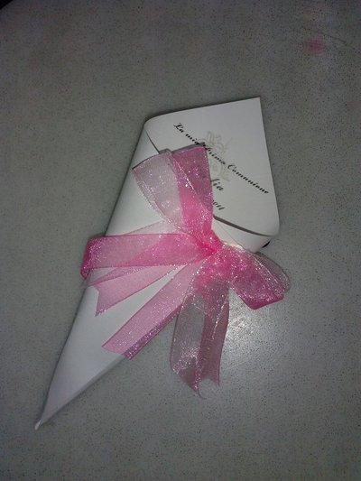 coni cartoncino confettata comunione artigianali con nome