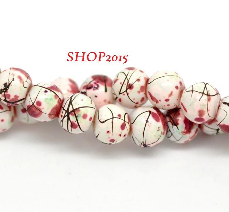 10 perle, perline  in vetro 6 mm decorate