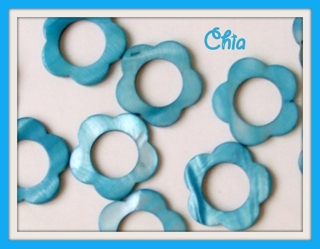 5 perle  fiori madreperla azzurra