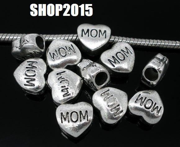 perla cuore scritta mom  a foro largo 11×11 mm argento antico