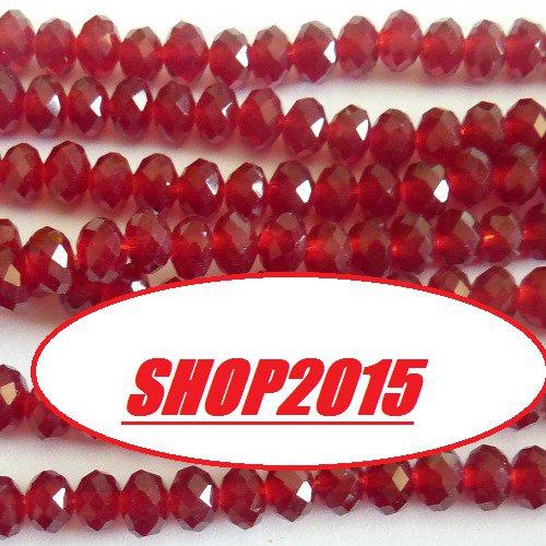 perla Sfaccettata in vetro mezzo cristallo rosso 8x6 mm