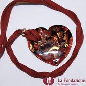 Cuoretto foro Rosso - Pendente in vetro di Murano