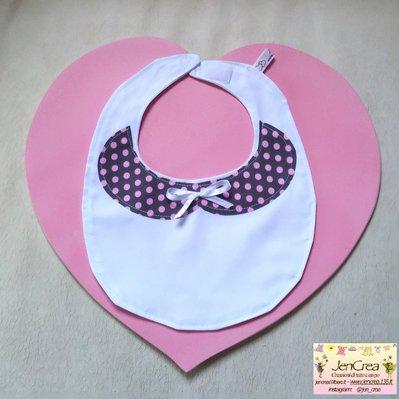 1 bavaglino elegante bambina colletto marrone pois rosa