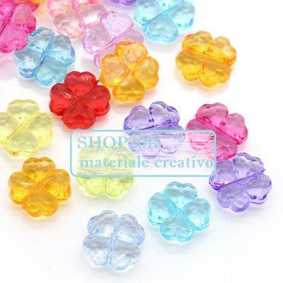 5 pz mix distanziatori perla forma quadrifoglio 12 mm portafortuna