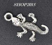 Charm ciondolo geco porta fortuna argento Antico 2,6x1,5 cm