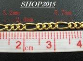 50 cm  catena catenella, dorato  2×5 mm maglia alternate