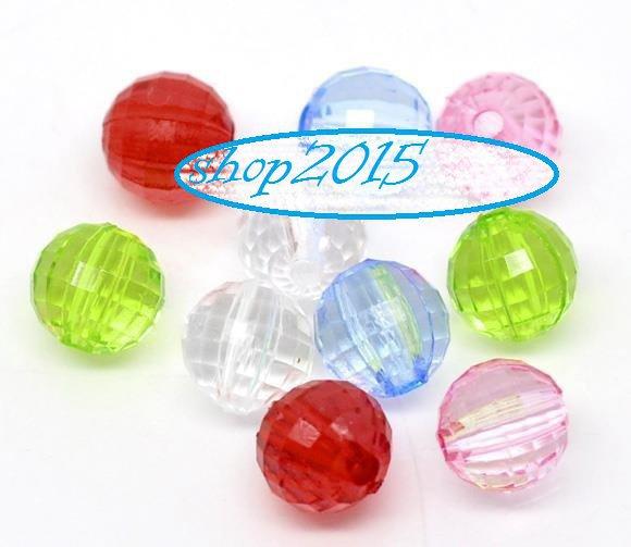 10 mix  Distanziatori Perle a Sfera  acrilico sfaccettate 8 mm