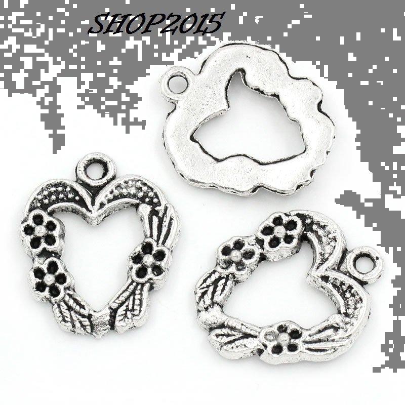 Charm ciondolo cuore tono argento antico 2x1,7 cm
