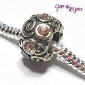 Perla vintage a foro largo in alluminio, 12x7, con strass crystal
