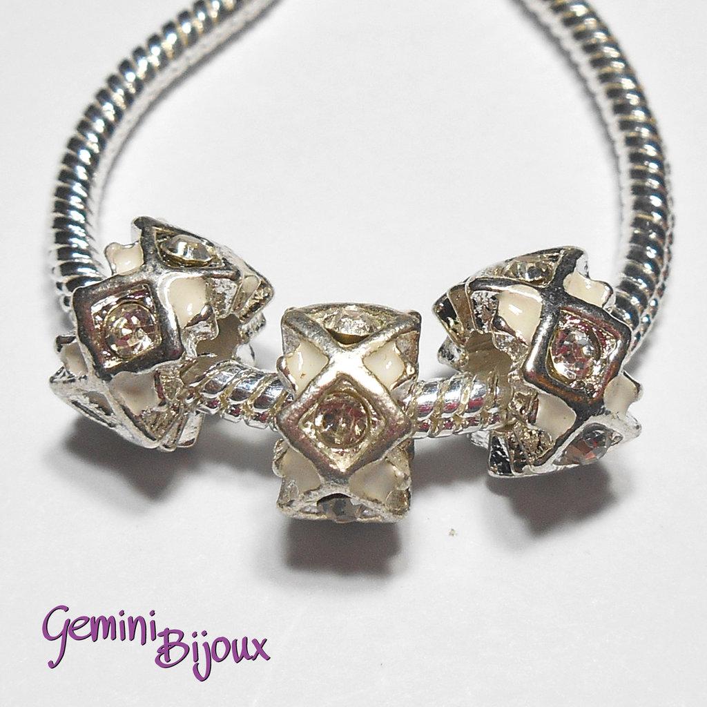 Perla a foro largo in alluminio con strass, 11x 6, silver-crystal-white