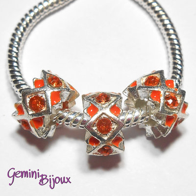 Perla a foro largo in alluminio con strass, 11x 6, silver-orange