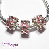 Perla a foro largo in alluminio con strass, 11x 6, silver-pink