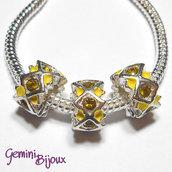 Perla a foro largo in alluminio con strass, 11x 6, silver-yellow