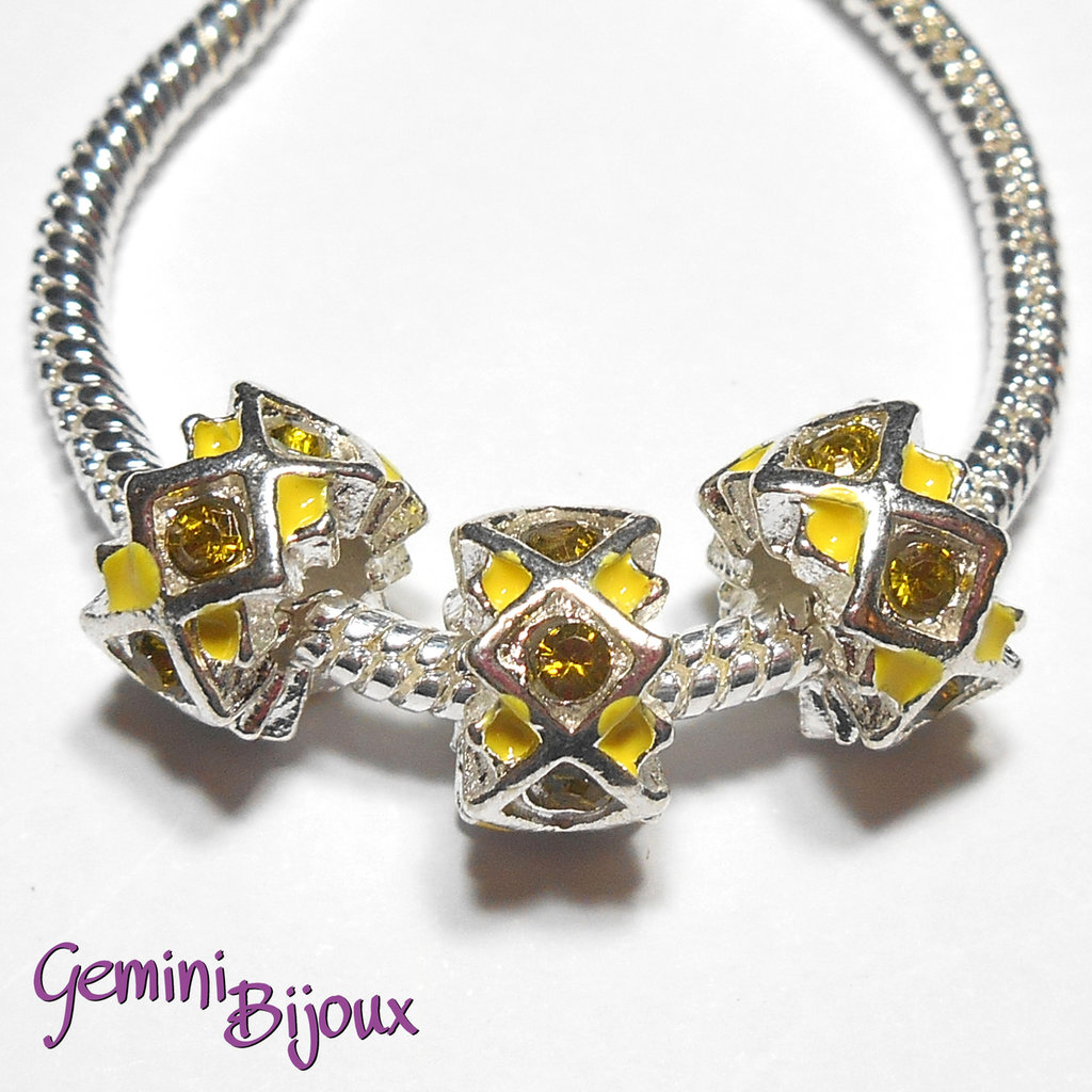 Perla a foro largo in alluminio con strass, 11x 6, silver-yellow